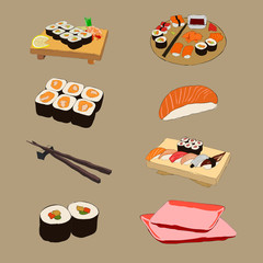 Vector illustration of various pieces of Sushi with chopsticks