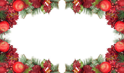 frame from red and green christmas decorations