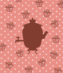 Silhouette of a Russian samovar on an abstract background