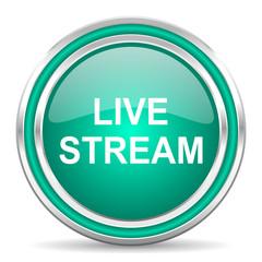 live stream green glossy web icon