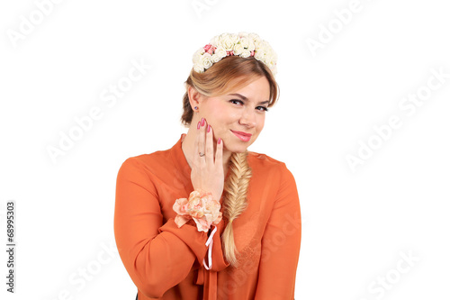 canvas print picture Pretty girl with golden braid.