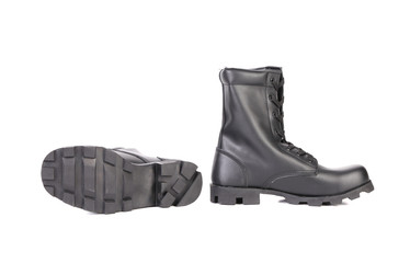 Pair of black leather boots.
