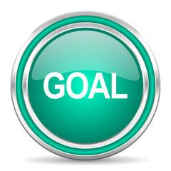 goal green glossy web icon