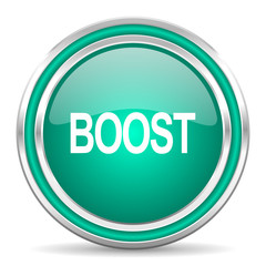 boost green glossy web icon