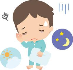 不眠に悩む若い男性