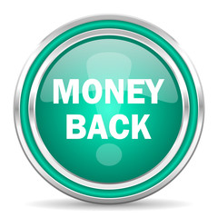 money back green glossy web icon
