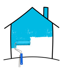 Haus Pinsel blau