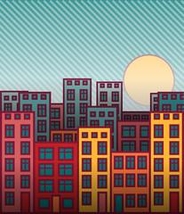 Cartoon cityscape sunset