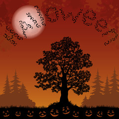 Halloween landscape with bats, trees and pumpkins