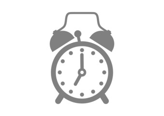 Grey alarm clock on white background