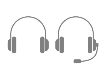 Grey headphones icon on white background