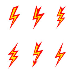 vector lightning colored silhouettes on white background  icon
