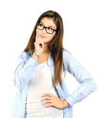 thinking cheerful girl