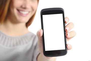 Close up of a funny woman holding a blank smart phone screen