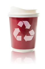 Coffee to go recycle paper cup isolated  : Clipping path