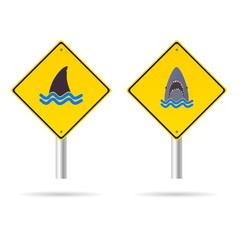 shark yellow sign vector illustration