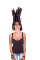 Girl tosses her hair