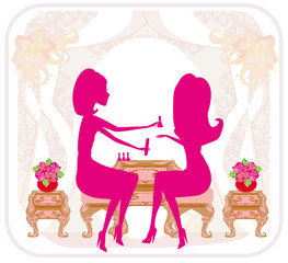 lady doing manicure in beauty salon , abstract card