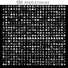 550 White Icons Set