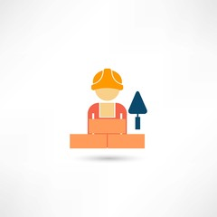 worker with trowel icon