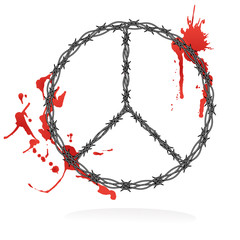 Peace sign - razor wire