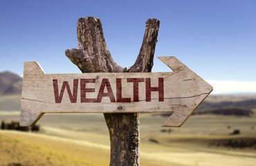 Wealth sign with a desert on background