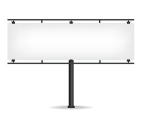 Blank black billboard on white background