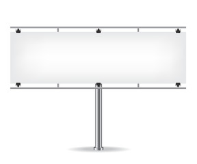 Blank metal billboard on white background