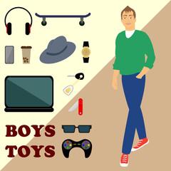 boy and set men's toys