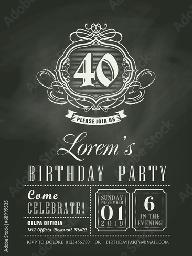 Anniversary birthday Invitation card chalkboard background - 68999535