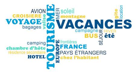 Nuage de mots sur le thème des vacances et du tourisme