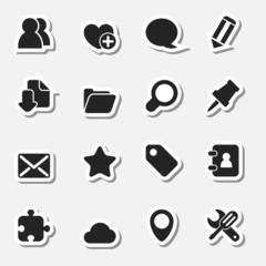 Internet Icons Set as Labels