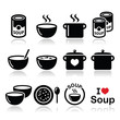 Soup in bowl, can and pot - food icon set - 69000314