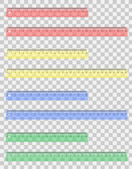 transparent colored ruler vector illustration