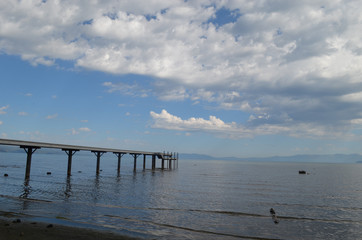 Pier on the shore of lake Tahoe, California