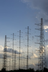 Antennas array at sunset