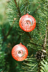 two red balls christmas decoration