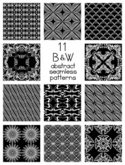 Black And White Abstract Seamless Patterns