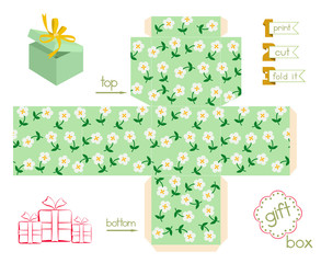 Printable Gift Box With Cute Flowers