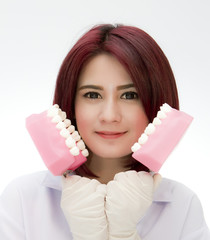Dentist woman with the teeth model