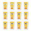 Sun cream, sunblock with factor or spv icons set