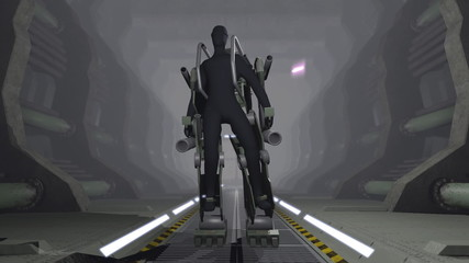 Animation of a futuristic mech firing with guns