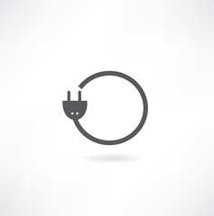 Electric plug - Vector icon isolated on white