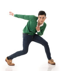Asian guy with dramatic pose