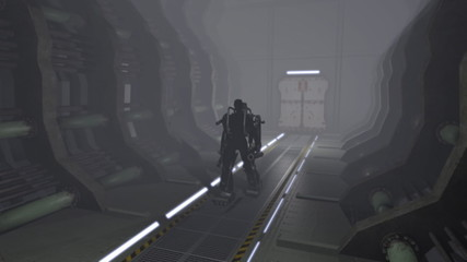 Animation of a futuristic mech walking through a corridor