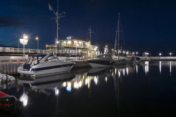 Yacht boats in Marina Sopot town at night, Poland