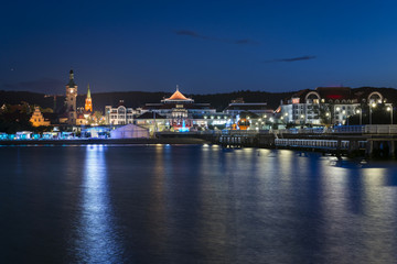 Night view of historic town Sopot in Poland