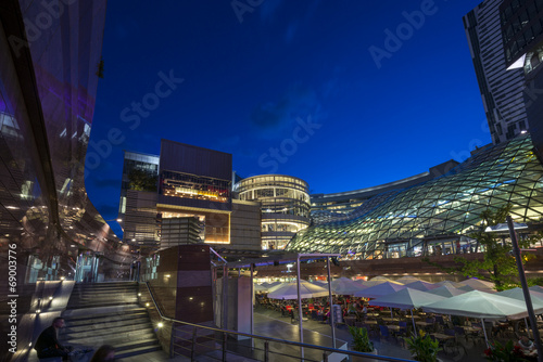 Modern architecture at night in Warsaw - 69003776