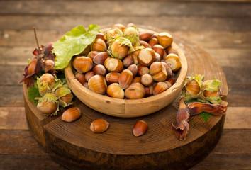 Fresh hazelnutus on the table