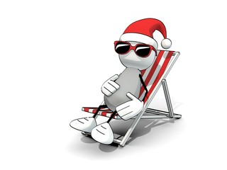 little sketchy man with santa hat and sunglasses in a deck chair